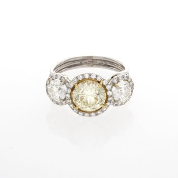 YELLOW & WHITE DIAMOND HALO 3-STONE RING