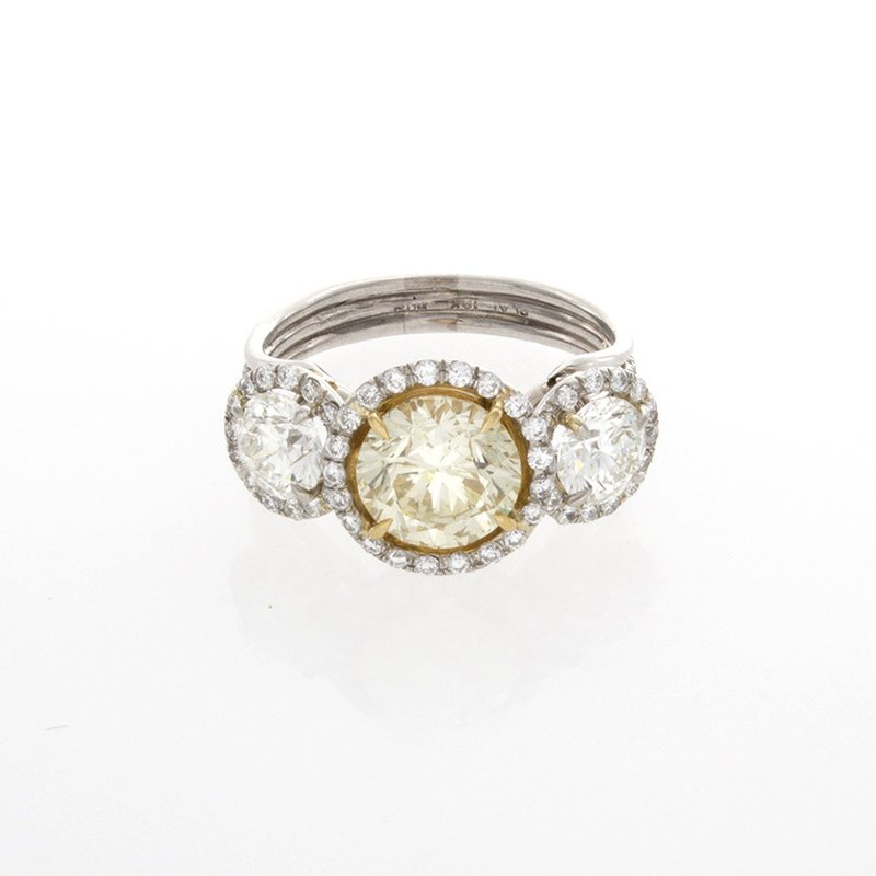 William Levine YELLOW & WHITE DIAMOND HALO 3-STONE RING