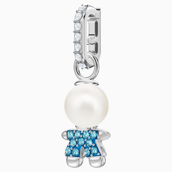 Swarovski Remix Collection Boy Charm, Aqua, Rhodium plated
