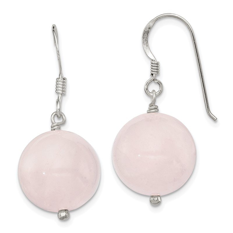 Quality Gold Sterling Silver 12mm Rose Quartz Earrings