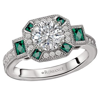 Tsavorite and Diamond Semi-Mount Ring