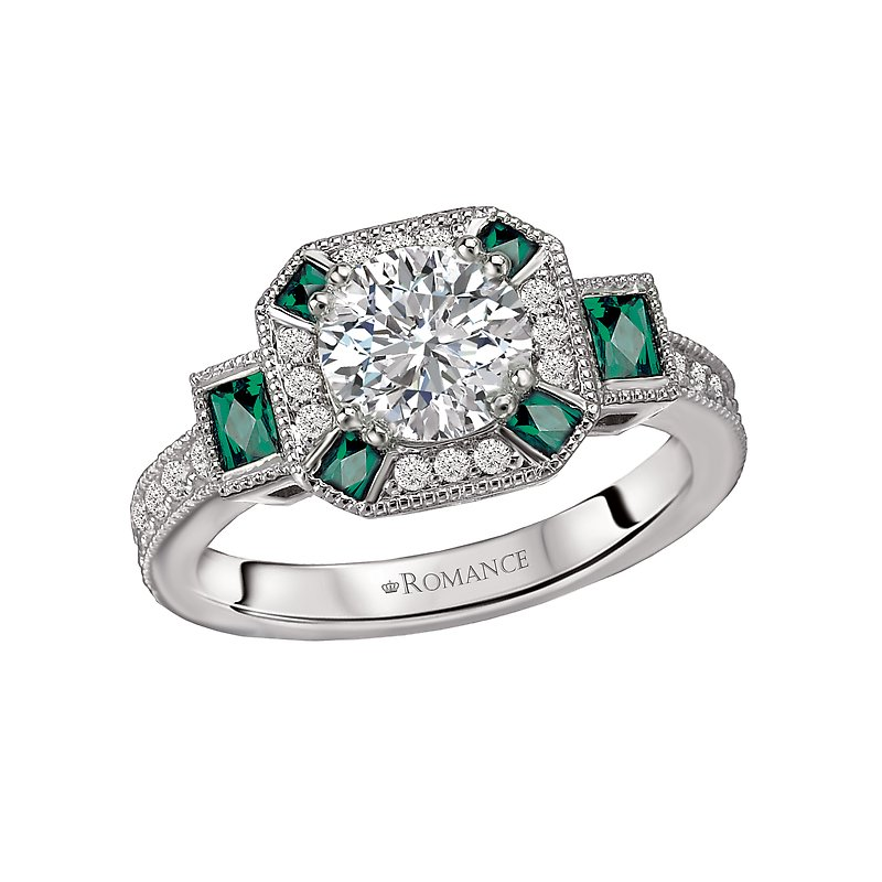 Romance Tsavorite and Diamond Semi-Mount Ring