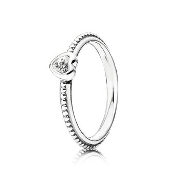 One Love Stackable Ring, Clear Cz