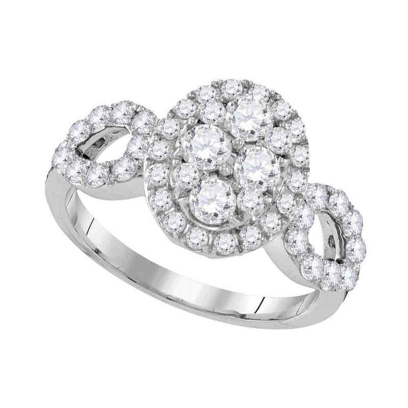 Kingdom Treasures 10kt White Gold Womens Round Diamond Oval Frame Cluster Ring 1-3/4 Cttw