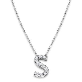 "Diamond Baby Typewriter Initial ""S"" Necklace in 14k White Gold with 10 Diamonds weighing .06ct tw."