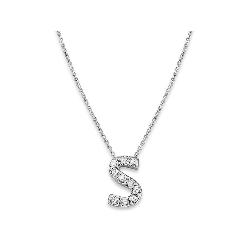 "MAZZARESE Fashion Diamond Baby Typewriter Initial ""S"" Necklace in 14k White Gold with 10 Diamonds weighing .06ct tw."