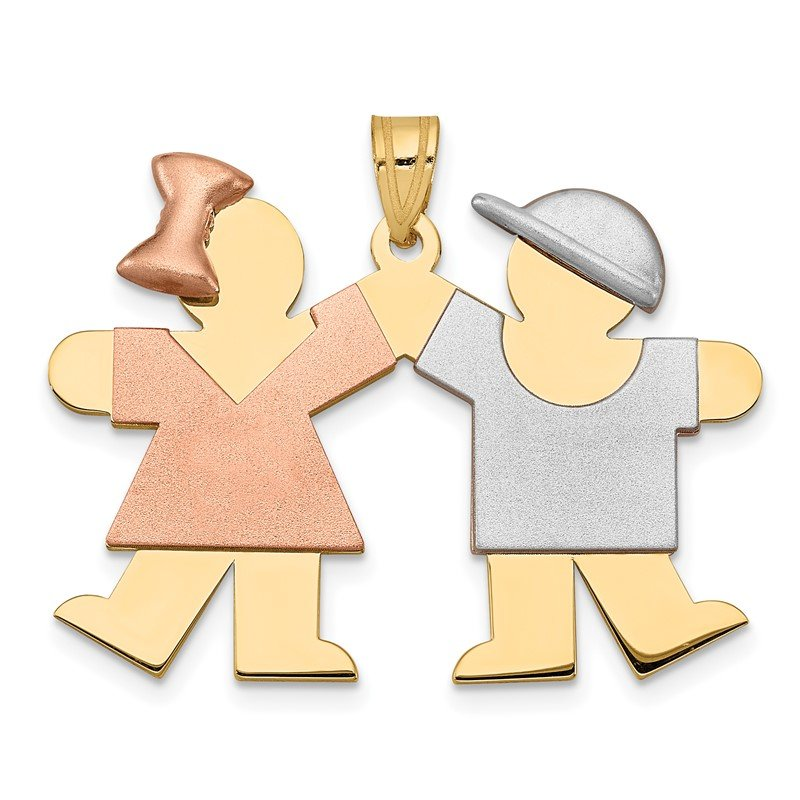 Quality Gold 14k Tri-Color Large Girl on Left and Boy on Right Engravable Charm