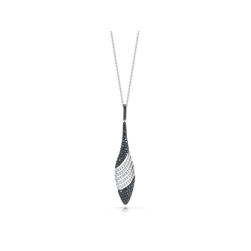 Roberto Coin 18Kt Gold Black And White Pave Diamond Drop Pendant