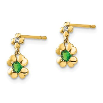 14k Madi K CZ Children's 4-leaf Clover Dangle Post Earrings