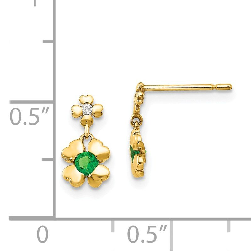 Quality Gold 14k Madi K CZ Children's 4-leaf Clover Dangle Post Earrings