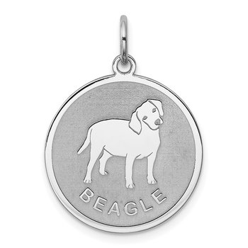 Sterling Silver Rhodium-plated Beagle Disc Charm