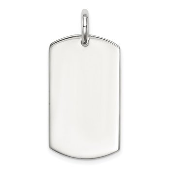 Sterling Silver Polished Dog Tag Pendant