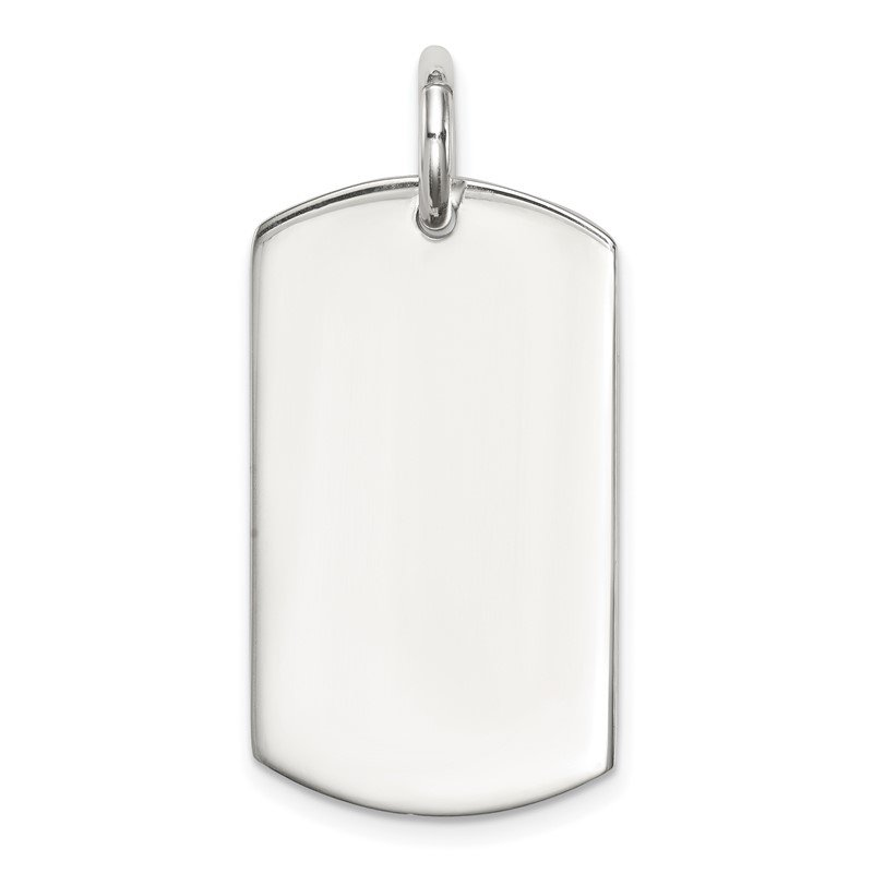 Quality Gold Sterling Silver Polished Dog Tag Pendant
