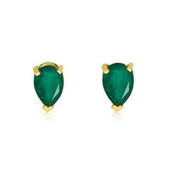 14k Yellow Gold Emerald Pear-Shaped Earring