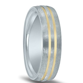Colors Collection Two-tone Wedding Band NT17024  with Gold Grooves