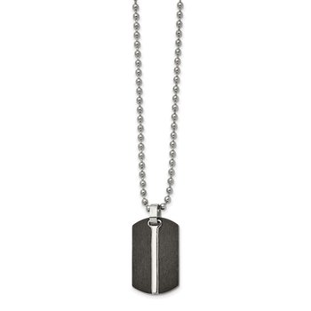 Stainless Steel Brushed and Polished Black IP-plated Dog Tag 24in Necklace