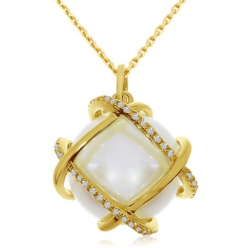 14k Yellow Gold Pearl and Diamond Cage Pendant