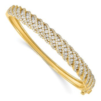 Sterling Silver Gold-tone CZ Hinged Bangle