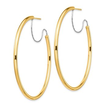 14K 2.5x50mm Polished with D/C wire Hoop Earrings