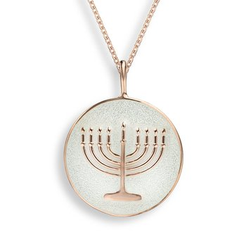 White Menorah Necklace.Rose Gold Plated Sterling Silver