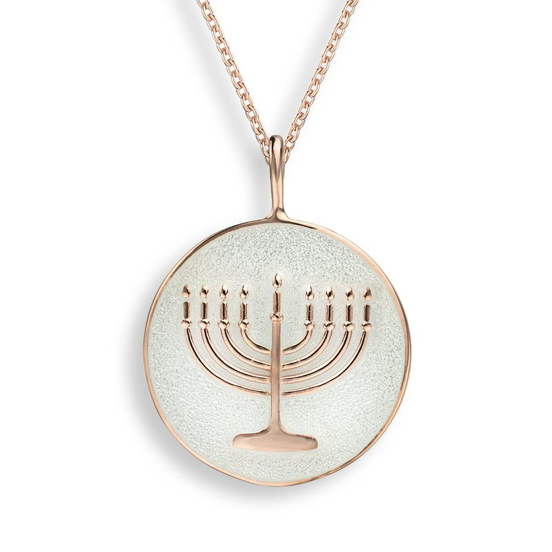 Nicole Barr Designs White Menorah Necklace.Rose Gold Plated Sterling Silver
