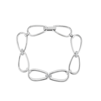 #28013 Of 18K Stirrup Link Bracelet W. Dia Accent
