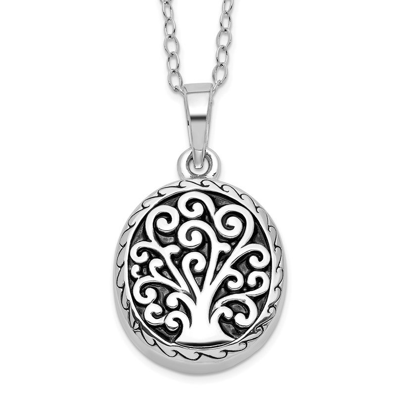Quality Gold Sterling Silver Antiqued Tree of Life Ash Holder 18in Necklace
