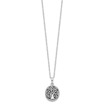 Sterling Silver Antiqued Tree of Life Ash Holder 18in Necklace