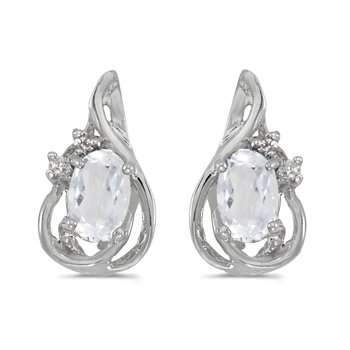 14k White Gold Oval White Topaz And Diamond Teardrop Earrings