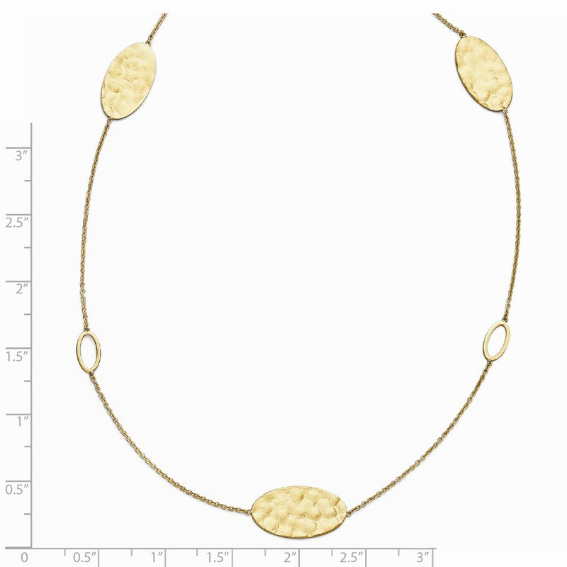Leslie's Leslie's 14k Polished, Brushed and Textured Necklace w/2in ext