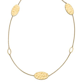 Leslie's 14k Polished, Brushed and Textured Necklace w/2in ext