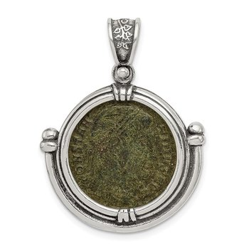 Sterling Silver Ancient Coins Antiqued Constantine Coin Pendant