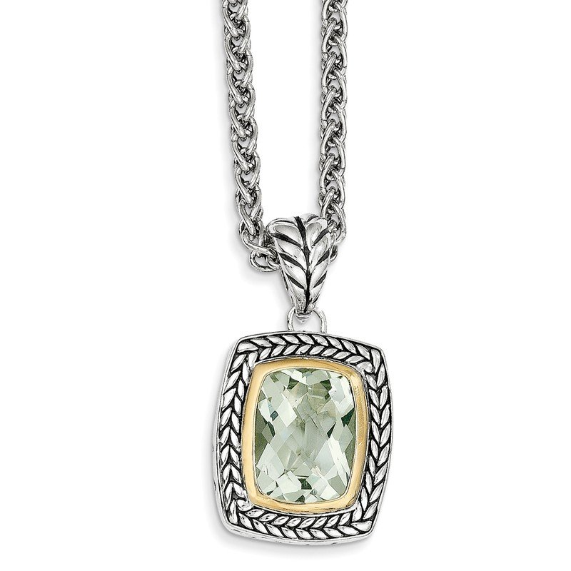 Quality Gold Sterling Silver w/14k Green Quartz Necklace
