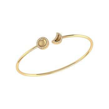 Moon Phases Cuff in 14 KT Yellow Gold Vermeil on Sterling Silver