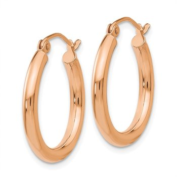 14k Rose Gold Polished 2.5mm Lightweight Tube Hoop Earrings