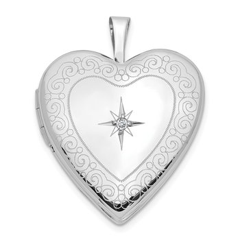 14K White Gold Diamond Side Swirl Edge 20mm Heart Locket