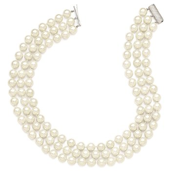 Sterling S Majestik Rh-pl 3 Row 10-11mm Wht Imitat Shell Pearl Necklace