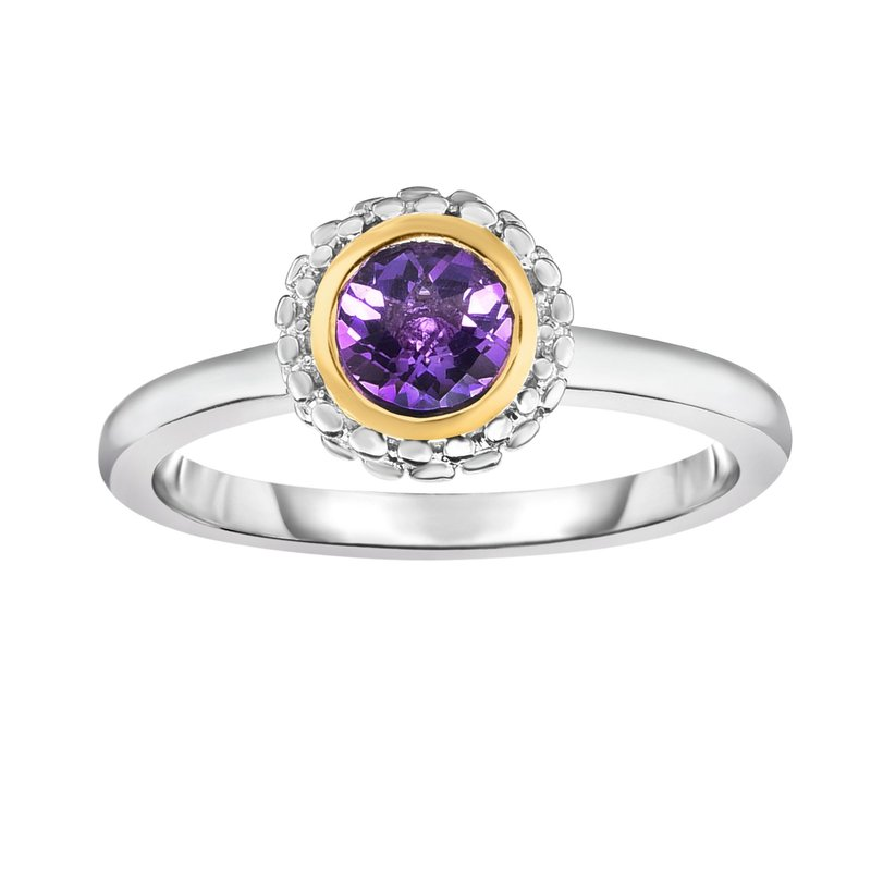 Royal Chain Sterling Silver & 18K Gold Popcorn Birthstone Ring