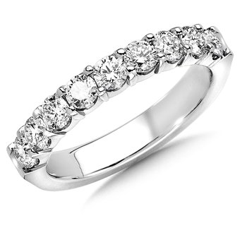 Prong set Round Diamond Wedding Band 14k White Gold (1ct. tw.)