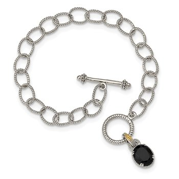 Sterling Silver w/ 14K Accent Onyx 7.5in Toggle Bracelet