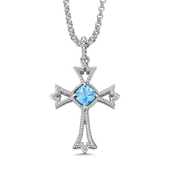 Sterling silver and blue topaz cross pendant