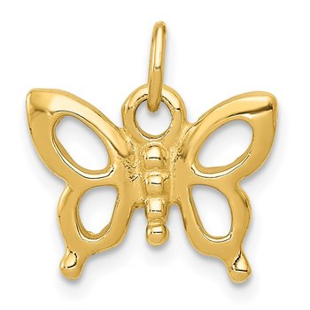 14k Solid Polished Butterfly Charm