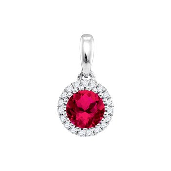 14kt White Gold Womens Round Ruby Solitaire Diamond Circle Frame Pendant 1/2 Cttw
