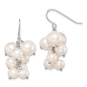 Sterling Silver Rhodium-plated 6 to10mm White FWC Pearl Dangle Earrings