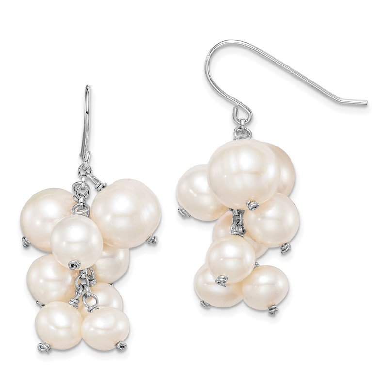 Quality Gold Sterling Silver Rhodium-plated 6 to10mm White FWC Pearl Dangle Earrings