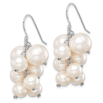 Sterling Silver Rhod-plat 6mm to 10mm White FWC Pearl Dangle Earrings