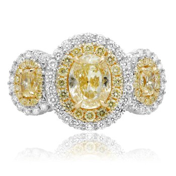 Triple Oval Fancy Yellow Diamond Ring