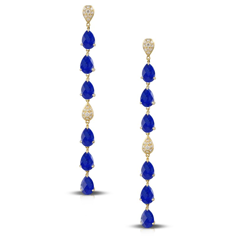 Doves Royal Lapis Dangles 18KY