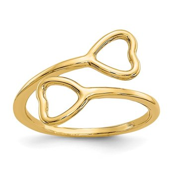 14k Double Heart Toe Ring