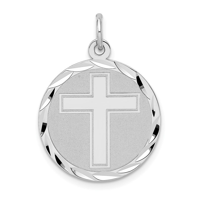 Quality Gold Sterling Silver Rhodium-plated Cross Disc Charm